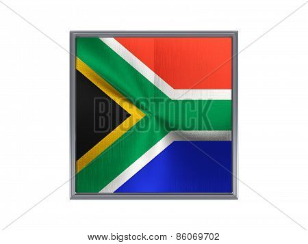 Square Metal Button With Flag Of South Africa