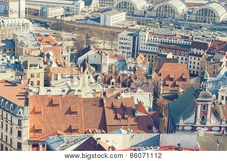 Aerial view of roofs in old center of Riga