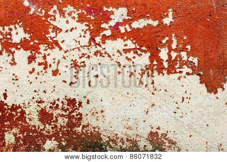 Creative Beautiful Bright Red Background, Cracks And Scratches On The Concrete. Grungy Concrete Surf