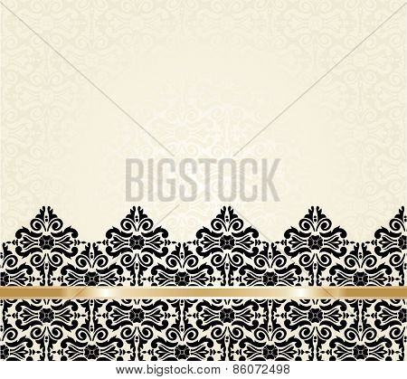 Ecru black and gold vintage invitation background