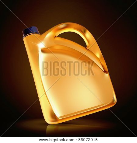 Golden Canister  On Black Background.