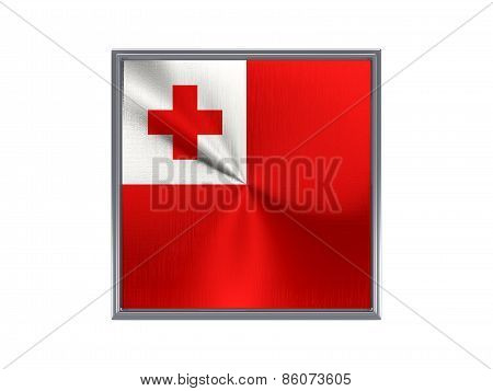 Square Metal Button With Flag Of Tonga