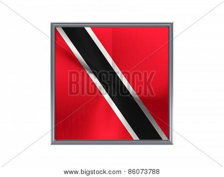 Square Metal Button With Flag Of Trinidad And Tobago