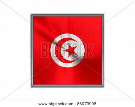 Square Metal Button With Flag Of Tunisia