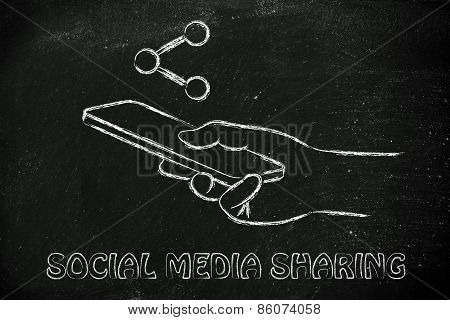 Hand Holding Mobile Phone, Networking And Content Sharing