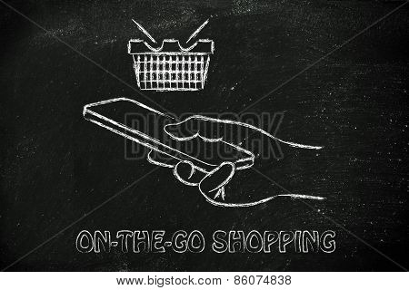 Hand Holding Mobile Phone, Buying Online And In-app Purchases
