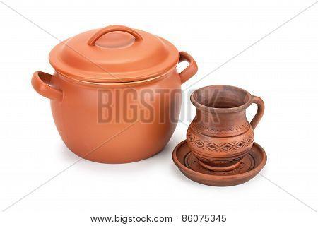 Clay Pot, Jug And Saucer