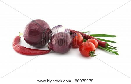 Red Tomato, Onion And Chili Pepper. Vegetables For Mexican Food Isolated On A White Background.