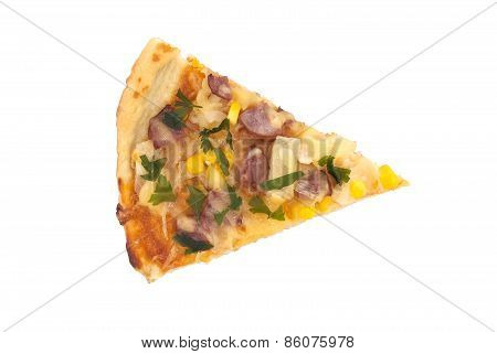 Slice Of Italian Pizza Isolated On White Background.top View.