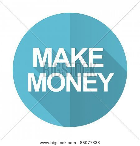 make money blue flat icon