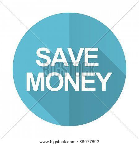 save money blue flat icon