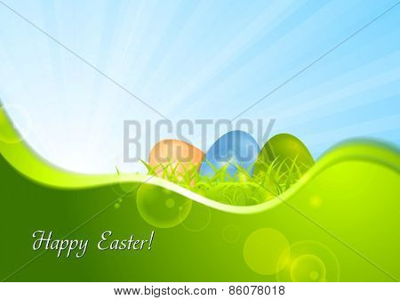 Easter background with wave and sunshine. Vector design