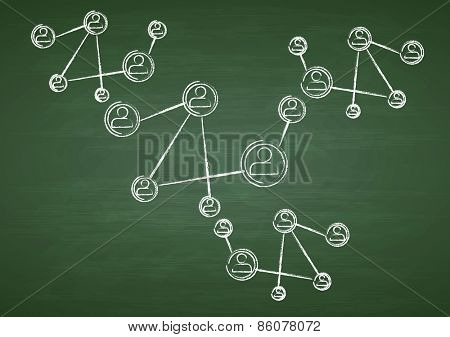 Green chalkboard with team communication drawing. Vector design