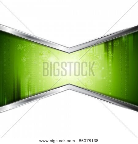 Green technology background with metal stripes. Vector design