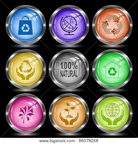 Ecology set. Internet button. Vector illustration.