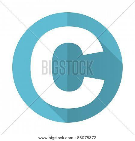 copyright blue flat icon