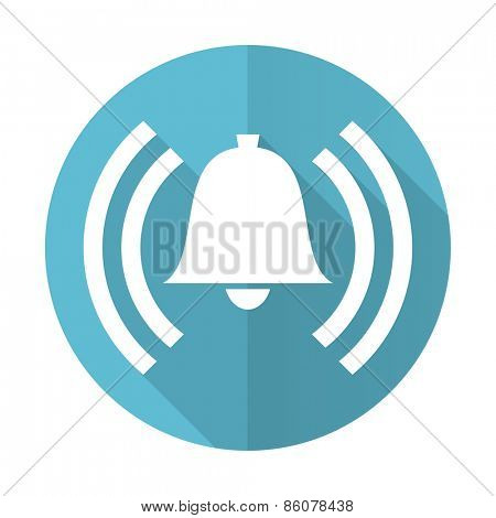 alarm blue flat icon alert sign bell symbol