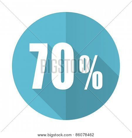 70 percent blue flat icon sale sign