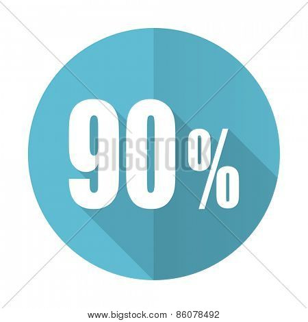 90 percent blue flat icon sale sign