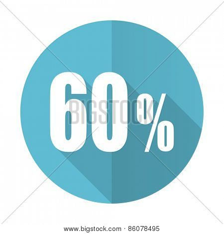 60 percent blue flat icon sale sign