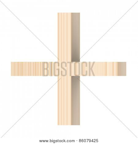 Plus sign from wooden alphabet set isolated over white.