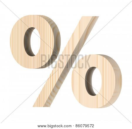 Percent sign from wooden alphabet set isolated over white.
