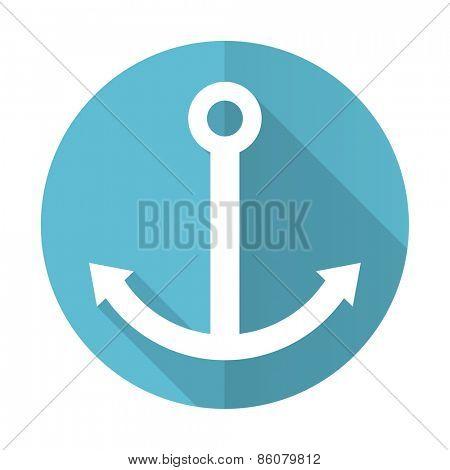 anchor blue flat icon sail sign