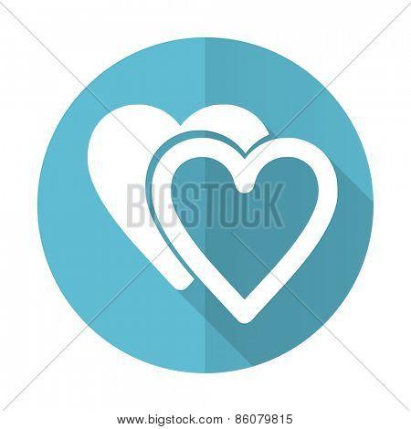 love blue flat icon sign hearts symbol