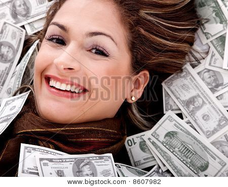 Woman Swimming In Money