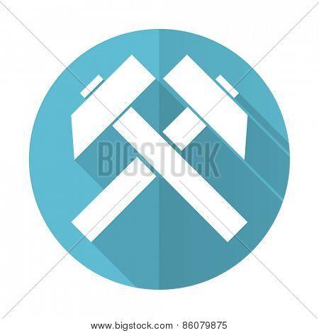 mining blue flat icon