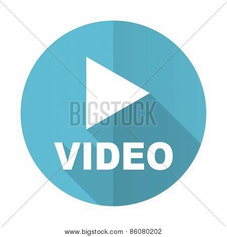 video blue flat icon