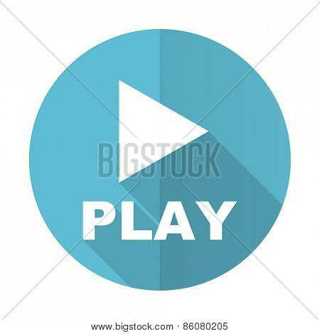 play blue flat icon
