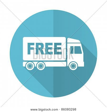 free delivery blue flat icon transport sign