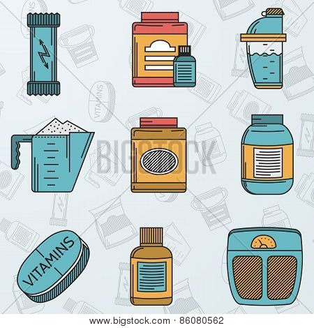 Sport supplements flat icons vector collection