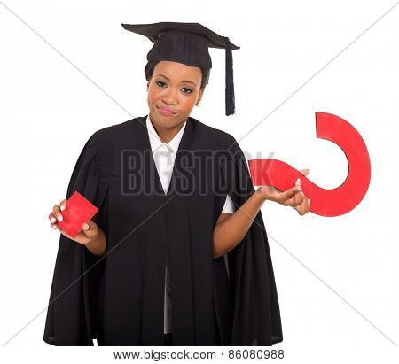 african american graduate with question mark isolated on white