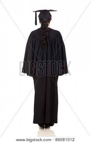 back view of african female graduate on white background