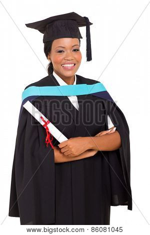 pretty female african graduate isolated on white background