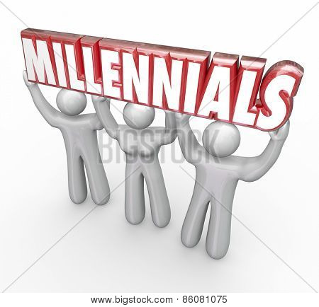 Millennials word in red 3d letters lifted by three young people to illustrate youth marketing and advertising to reach a younger generation