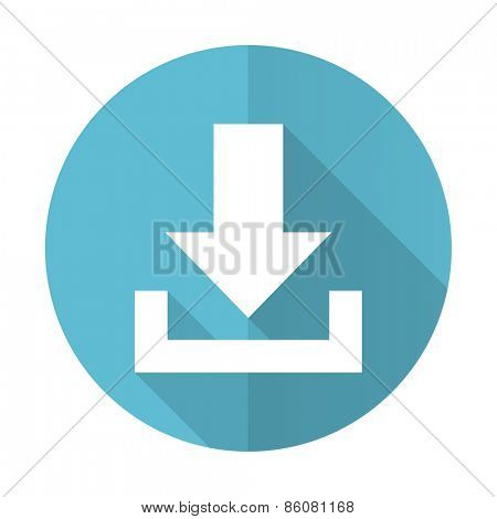 download blue flat icon