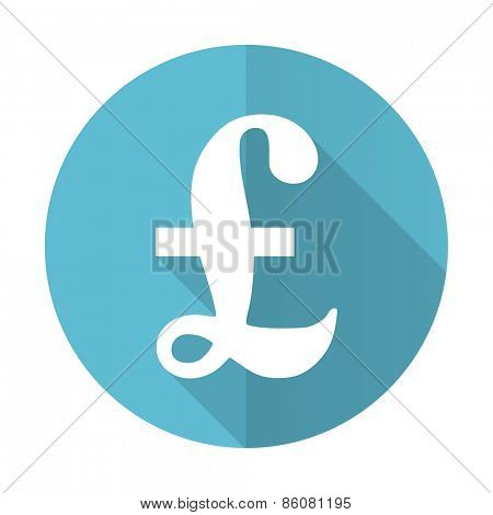 pound blue flat icon