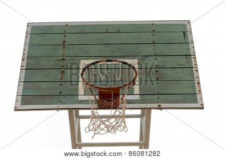 Basketball Wooden Board, Dirty, Grunge, Old On White Background, Isolated