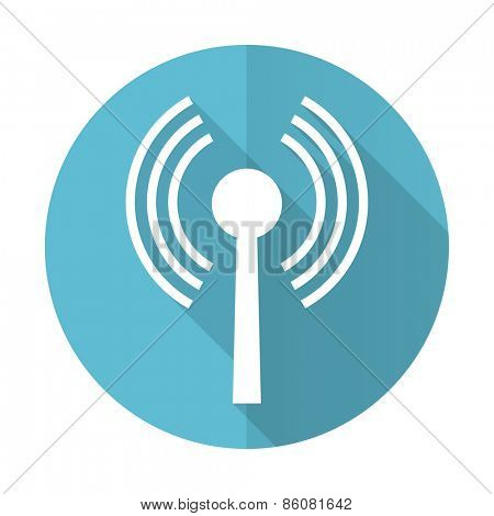 wifi blue flat icon wireless network sign