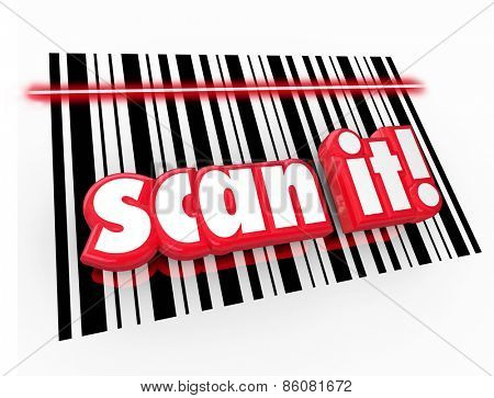 Scan It words in red 3d letters on UPC barcode chart to illustrate universal product code for merchandise to track for inventory and pricing