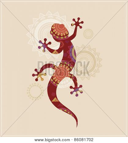 Bohemian, Tribal, Ethnic background with patterned lizard icon