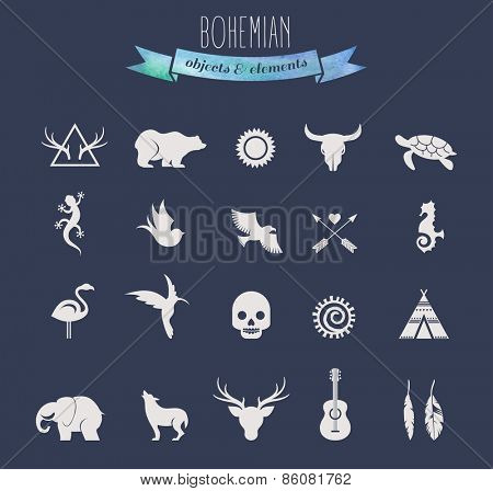 Collection of Bohemian, tribal and ethnic objects, elements and icons