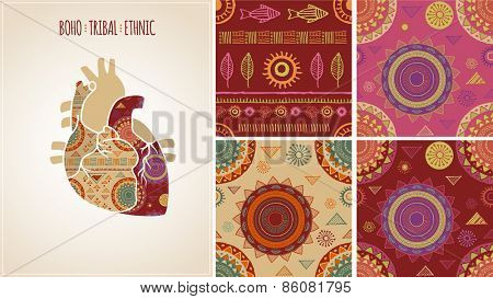 Bohemian, Tribal, Ethnic background with heart illustration and patterns