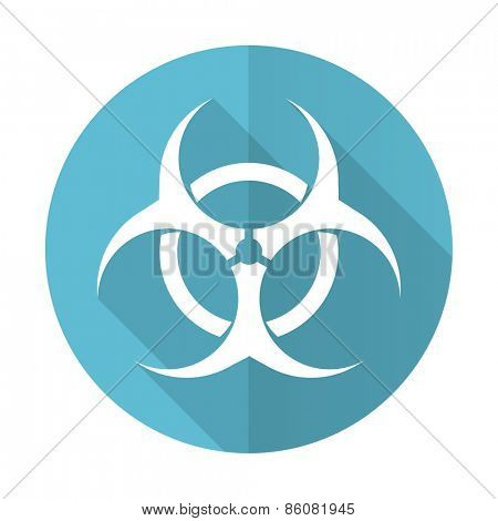 biohazard blue flat icon virus sign