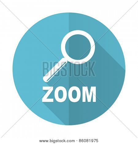 zoom blue flat icon