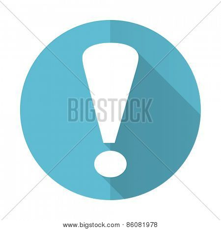 exclamation sign blue flat icon warning sign