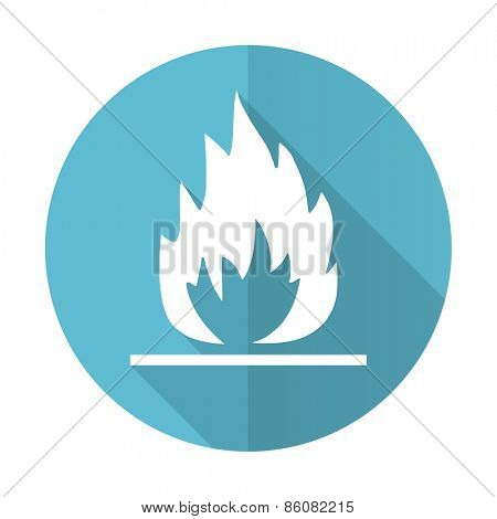flame blue flat icon